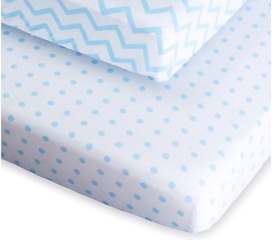 Ely's & Co. Set of 2 Blue Printed Pack N Play Sheets