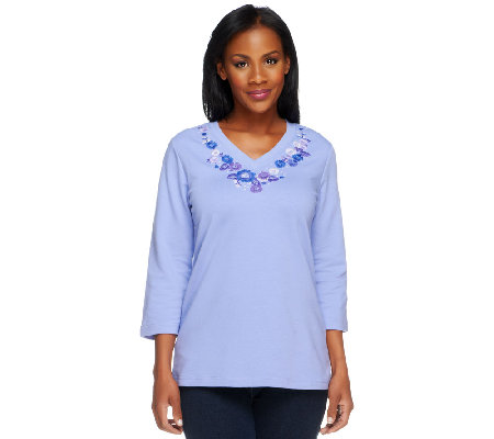Denim & Co. 3/4 Sleeve V-Neck Floral Embroidery Top