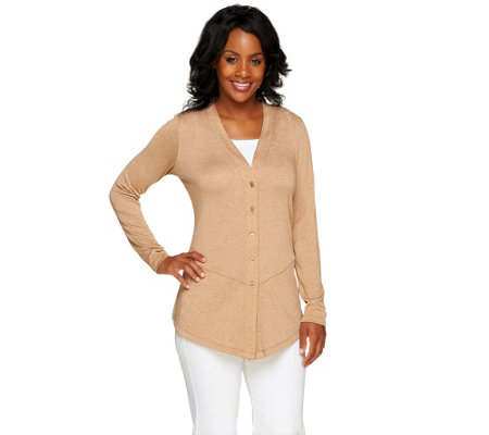 Linea by Louis Dell'Olio Draped Button Front V-Neck Cardigan