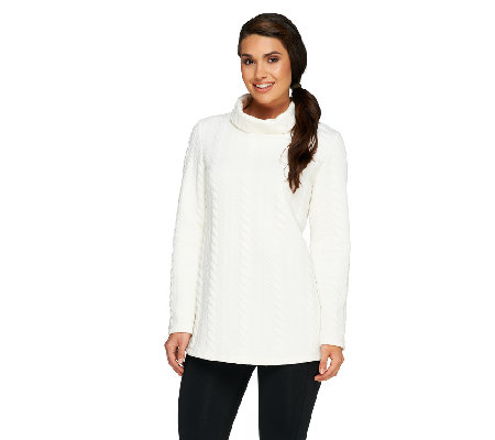 George Simonton Cable Knit Top with Funnel Neck