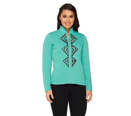Bob Mackie's Checkered Embroidered Zip Front Jacket