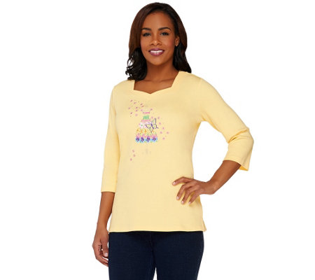 Quacker Factory Floral-icious Embroidered 3/4 Sleeve T-shirt