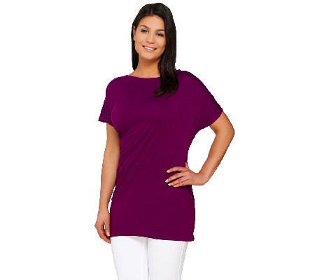 Lisa Rinna Collection Short Sleeve Side Draped Knit Top