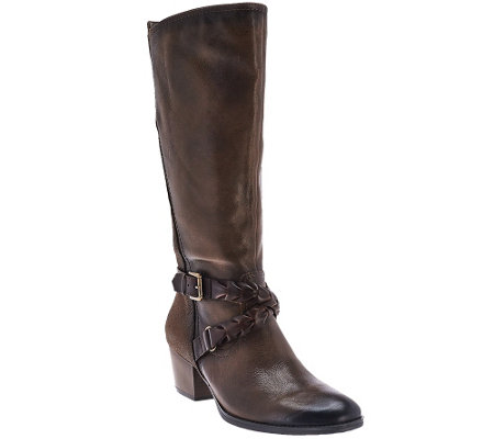 Earth Leather Tall Shaft Boots w/ Strap Details - Orchard