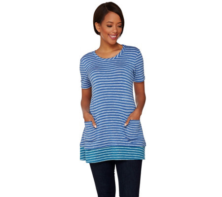 LOGO by Lori Goldstein Striped Knit Top with Contrast Trim