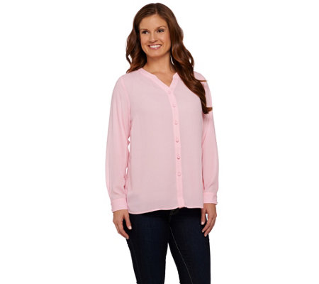 Susan Graver Feather Weave Y-neck Button Front Shirt with Lace Trim