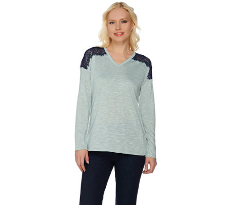 Linea by Louis Dell'Olio Novelty Knit Top with Lace Detail