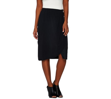 H by Halston Draped Skirt with Suede Panel