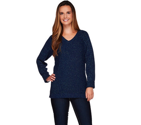 """As Is"" Denim & Co. Long Sleeve V-neck Sweater with Lurex"
