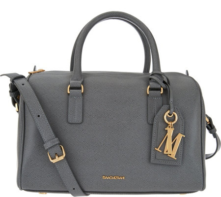 Isaac Mizrahi Live Signature Saffiano Leather Satchel Handbag