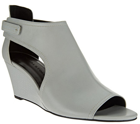 """As Is"" H by Halston Open - Toe Cut-Out Leather Wedges - Robyn"
