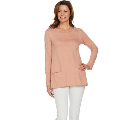 LOGO by Lori Goldstein Slub Knit Top with Contrast Pockets