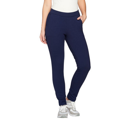 Denim & Co. Active Petite Ankle Pants with Back Slit Detail