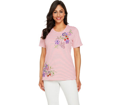Quacker Factory Floral Embroidered Striped Short Knit T-Shirt