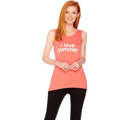 Peace Love World Affirmation Knit Tank with Asymmetric Hem — QVC com