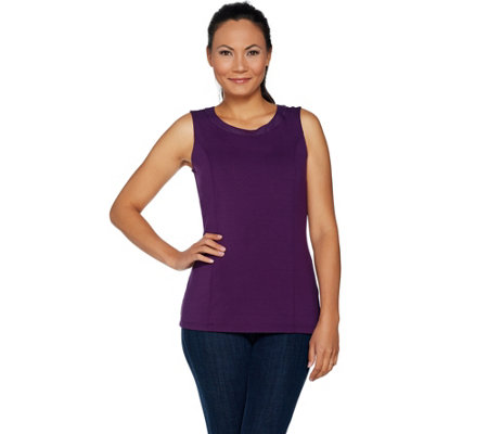 Belle by Kim Gravel Knit Tank with Faux Leather Trim
