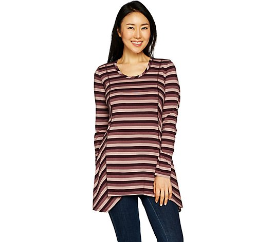 LOGO by Lori Goldstein Cotton Modal Striped Top w/ Seaming Detail