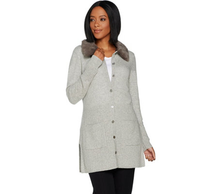 Isaac Mizrahi Live! 2-Ply Cashmere Cardigan with Faux Fur Collar