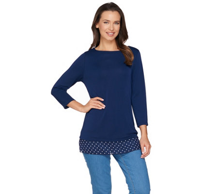 """As Is"" Susan Graver Premier Knit Top with Back Cutout"