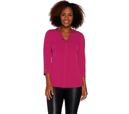 Every Day by Susan Graver Liquid Knit Top with Buttons