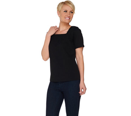 """As Is"" Joan Rivers Wardrobe Builders Square Neck Tee Shirt"
