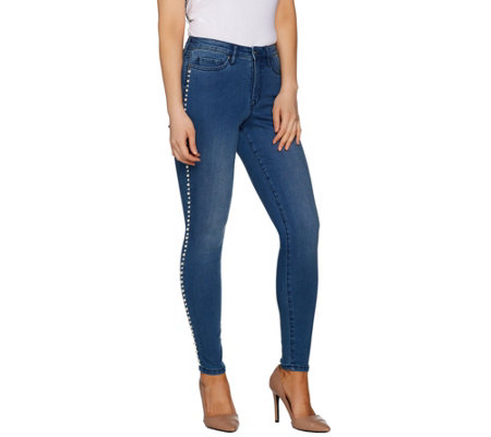 Martha Stewart Regular Faux Pearl 5-Pocket Ankle Jeans