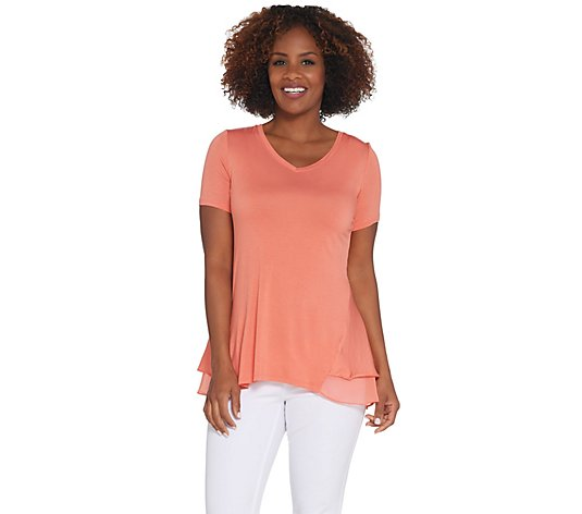 LOGO by Lori Goldstein Knit Short Sleeve Top w/ Tiered Trim