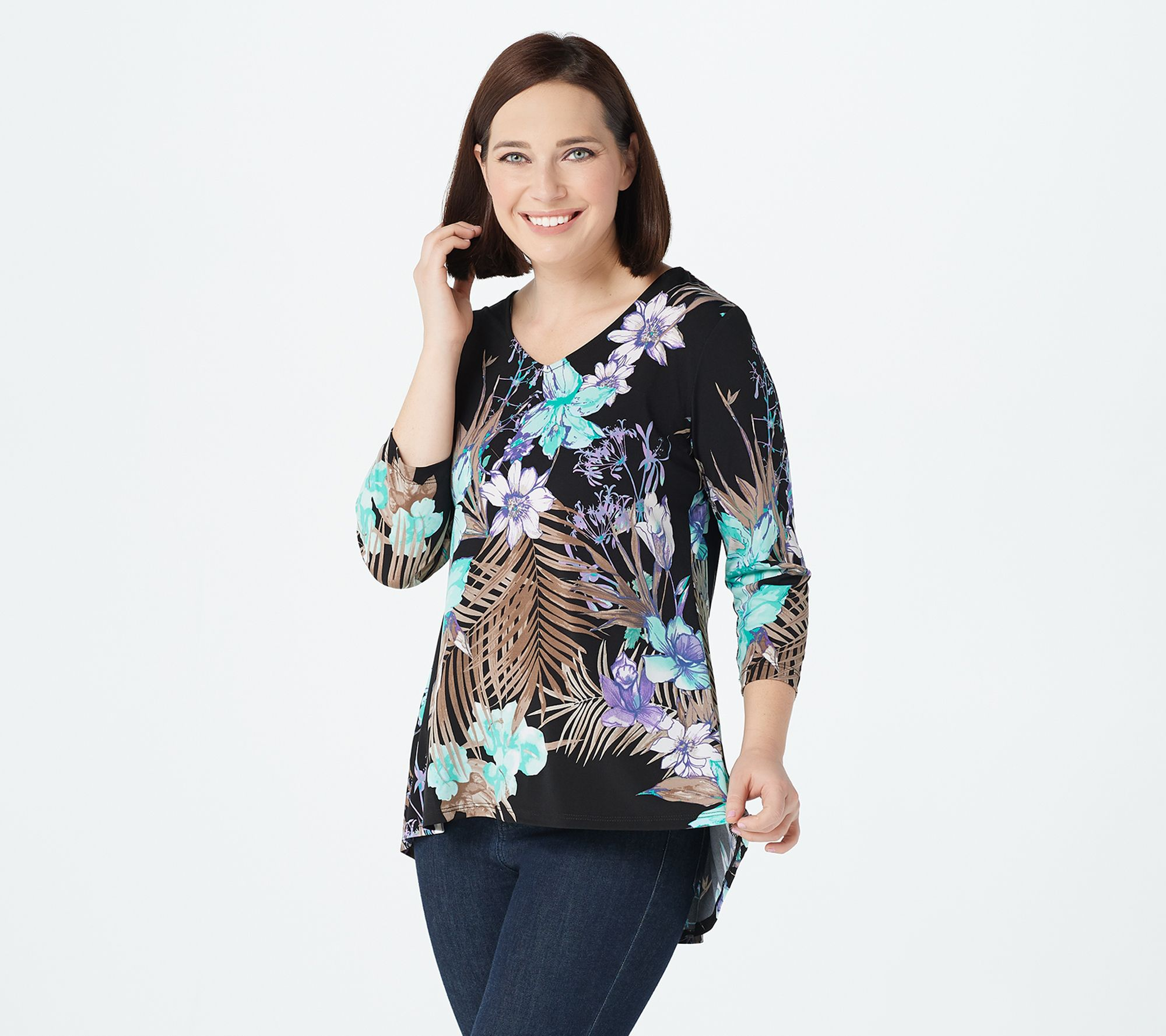 Susan Graver~Size Medium BlackBeige Blouse