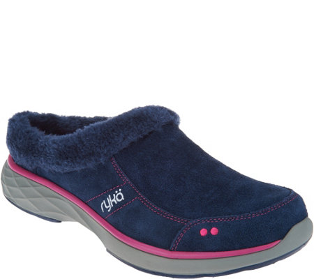 As Is Ryka Suede Faux Fur Slip On Clogs