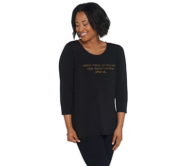 Attitudes by Renee Como Jersey T-Shirt with Affirmation - A306469