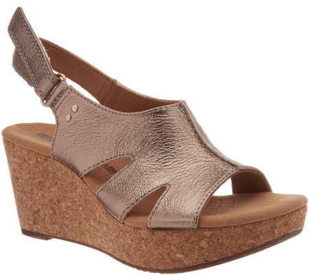 f892f1dc22d Clarks Leather Cork Wedge Adjustable Sandals - Annadel Bari - Page 1 ...