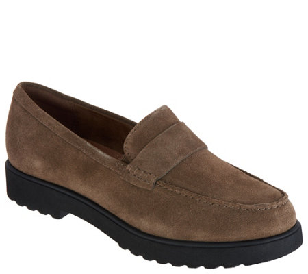 """As Is"" Clarks Artisan Suede Cleated Loafers - Bellevue Hazen"