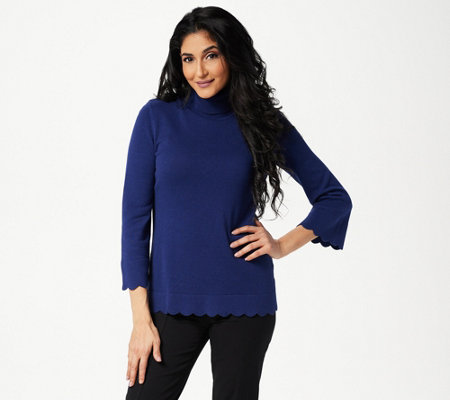 Isaac Mizrahi Live! Scallop Hem Turtleneck Sweater