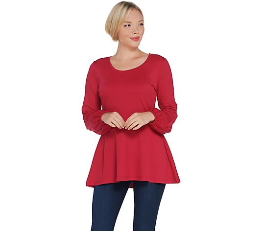 Isaac Mizrahi Live! Pebble Knit Bishop Sleeve Peplum Top