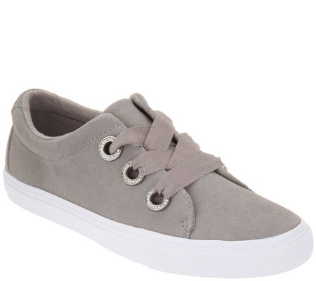 Isaac Mizrahi Live! SOHO Grosgrain Lace-Up Suede Sneakers
