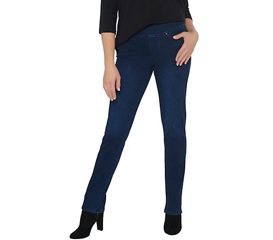 Belle by Kim Gravel Flexibelle Pull-On Straight Jeans