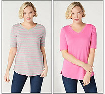 Isaac Mizrahi Live! Set of 2 Essentials Pima Cotton Solid & Striped Tops - A349269