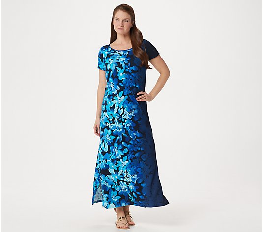 Bob Mackie Regular Ombre Floral Knit Maxi Dress