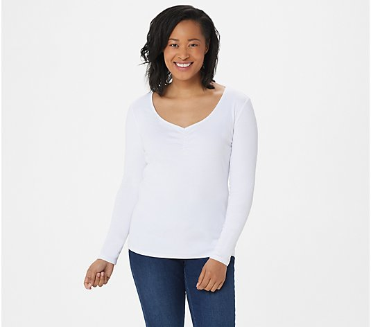 Laurie Felt Knit Cinched V-Neck Long-Sleeve Top