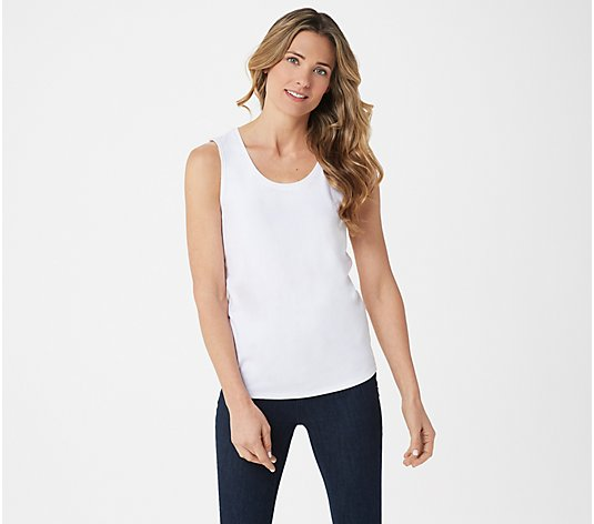 G.I.L.I. Sleeveless Curved Hem Knit Top with Scoop Neckline