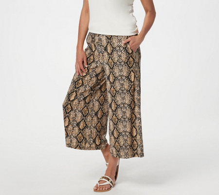 Susan Graver Printed Liquid Knit Pull On Culotte Pants