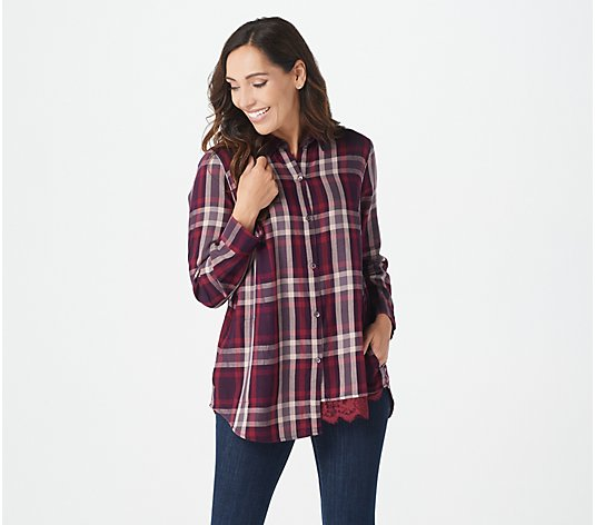 LOGO by Lori Goldstein Woven Plaid Button-Front Shirt w/ Lace