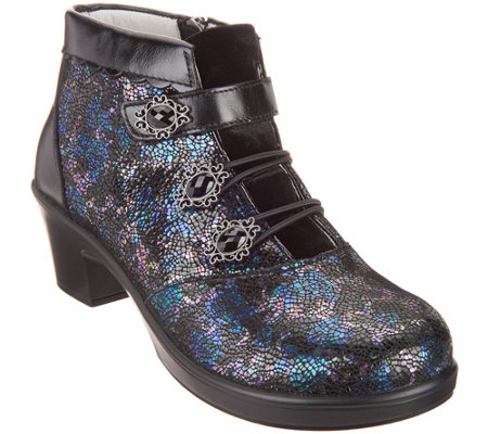 """As Is"" Alegria Leather Ankle Boots with Bungee Detail- Heidi"