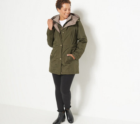 Susan Graver Water Resistant Jacket with Contrast Lining and Hood