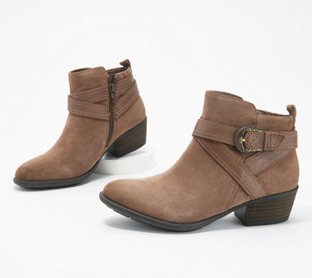 Earth Suede Ankle Boots with Strap - Peak Porter