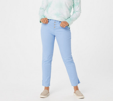Denim & Co. Slim Ankle Jeans with Button Fly