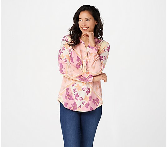 Denim & Co. Printed Stretch Woven Y-Neck Pull-over Top
