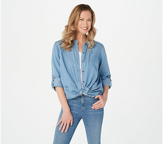 Isaac Mizrahi Live! TRUE DENIM Button Front Shirt