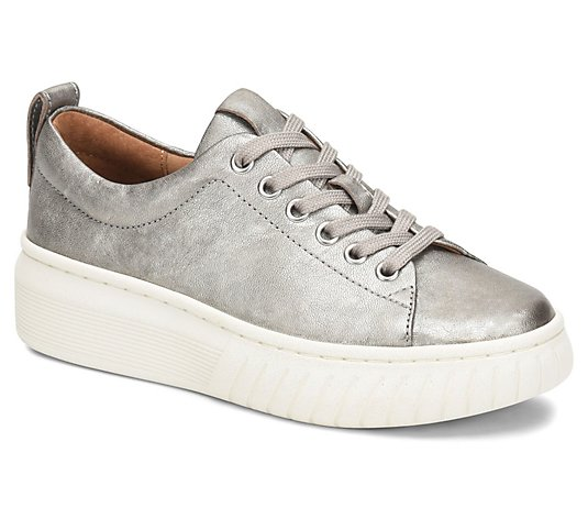 Sofft Leather Metallic Sporty Sneakers - Pacey