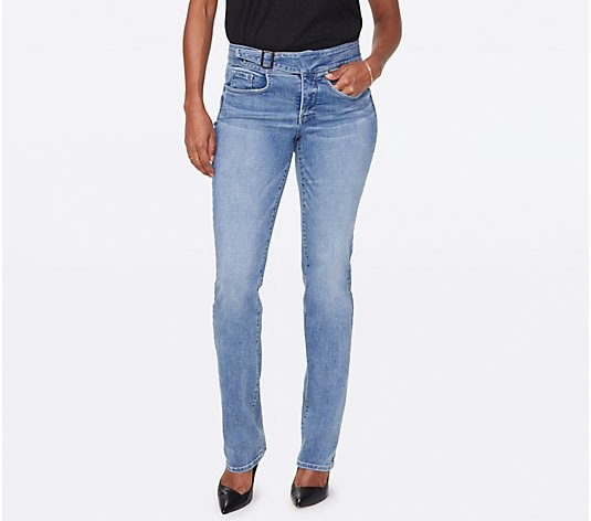NYDJ Marilyn Straight Jeans with Buckle Waistband